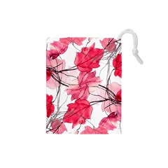 Floral Print Swirls Decorative Design Drawstring Pouch (Small)