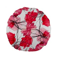 Floral Print Swirls Decorative Design 15  Premium Flano Round Cushion