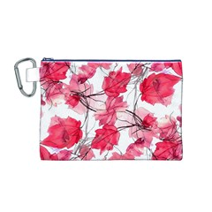 Floral Print Swirls Decorative Design Canvas Cosmetic Bag (medium)