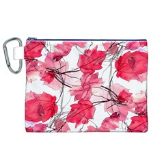 Floral Print Swirls Decorative Design Canvas Cosmetic Bag (XL)
