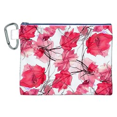 Floral Print Swirls Decorative Design Canvas Cosmetic Bag (XXL)