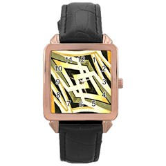 Art Print Tribal Style Pattern Rose Gold Leather Watch