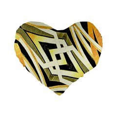 Art Print Tribal Style Pattern 16  Premium Flano Heart Shape Cushion