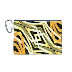 Art Print Tribal Style Pattern Canvas Cosmetic Bag (Medium)