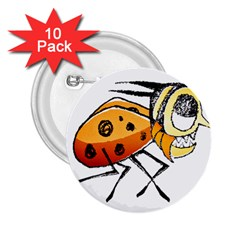 Funny Bug Running Hand Drawn Illustration 2 25  Button (10 Pack)