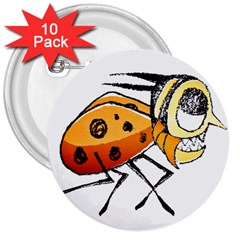 Funny Bug Running Hand Drawn Illustration 3  Button (10 Pack)