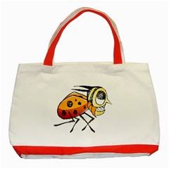 Funny Bug Running Hand Drawn Illustration Classic Tote Bag (Red)