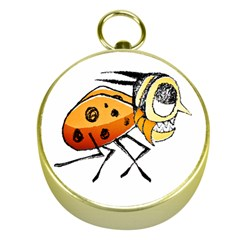 Funny Bug Running Hand Drawn Illustration Gold Compass