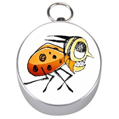 Funny Bug Running Hand Drawn Illustration Silver Compass