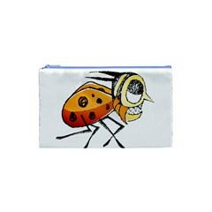 Funny Bug Running Hand Drawn Illustration Cosmetic Bag (xs)