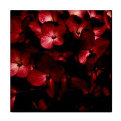 Red Flowers Bouquet In Black Background Photography Ceramic Tile