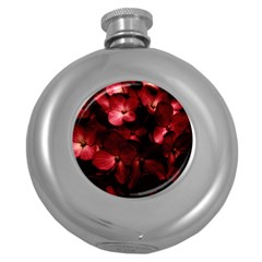 Red Flowers Bouquet in Black Background Photography Hip Flask (Round)