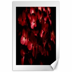 Red Flowers Bouquet in Black Background Photography Canvas 24  x 36  (Unframed)