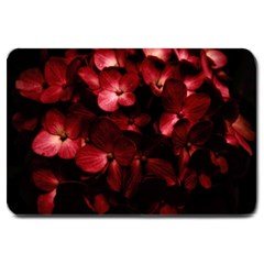 Red Flowers Bouquet in Black Background Photography Large Door Mat