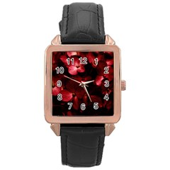 Red Flowers Bouquet In Black Background Photography Rose Gold Leather Watch