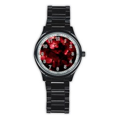 Red Flowers Bouquet in Black Background Photography Sport Metal Watch (Black)