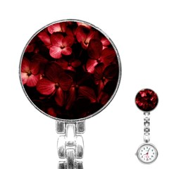 Red Flowers Bouquet in Black Background Photography Stainless Steel Nurses Watch