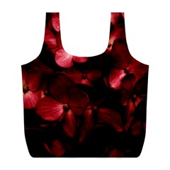 Red Flowers Bouquet in Black Background Photography Reusable Bag (L)