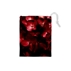 Red Flowers Bouquet in Black Background Photography Drawstring Pouch (Small)