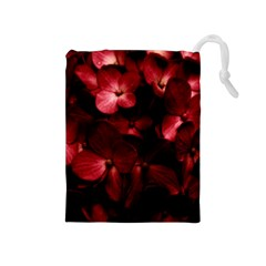 Red Flowers Bouquet in Black Background Photography Drawstring Pouch (Medium)