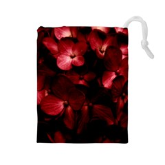 Red Flowers Bouquet In Black Background Photography Drawstring Pouch (large)