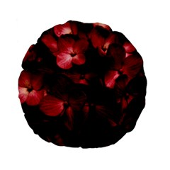 Red Flowers Bouquet in Black Background Photography 15  Premium Flano Round Cushion