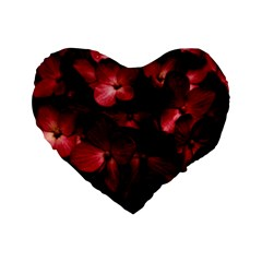 Red Flowers Bouquet in Black Background Photography 16  Premium Flano Heart Shape Cushion