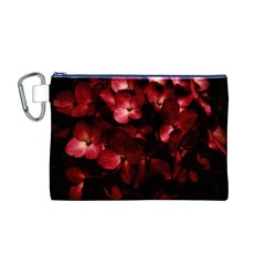 Red Flowers Bouquet in Black Background Photography Canvas Cosmetic Bag (Medium)