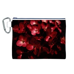 Red Flowers Bouquet in Black Background Photography Canvas Cosmetic Bag (Large)