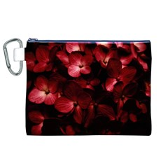 Red Flowers Bouquet in Black Background Photography Canvas Cosmetic Bag (XL)