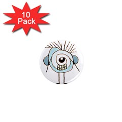 Cute Weird Caricature Illustration 1  Mini Button Magnet (10 Pack)