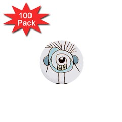Cute Weird Caricature Illustration 1  Mini Button (100 Pack)