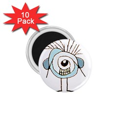 Cute Weird Caricature Illustration 1 75  Button Magnet (10 Pack)