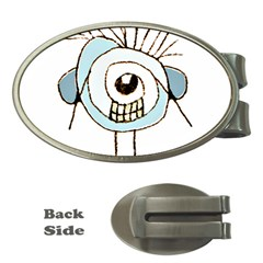 Cute Weird Caricature Illustration Money Clip (oval)
