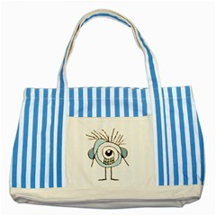 Cute Weird Caricature Illustration Blue Striped Tote Bag