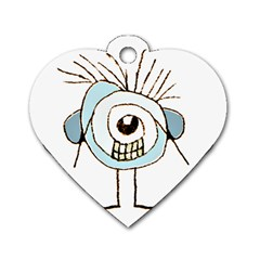 Cute Weird Caricature Illustration Dog Tag Heart (one Sided)