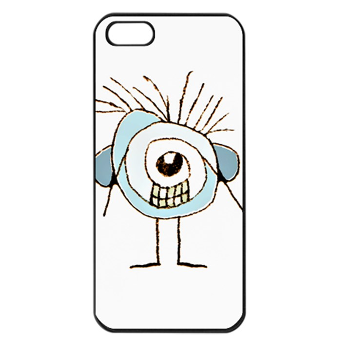 Cute Weird Caricature Illustration Apple iPhone 5 Seamless Case (Black)