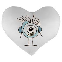 Cute Weird Caricature Illustration 19  Premium Heart Shape Cushion