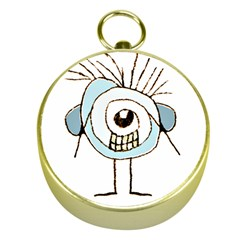 Cute Weird Caricature Illustration Gold Compass