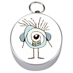Cute Weird Caricature Illustration Silver Compass