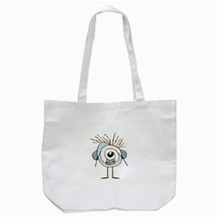 Cute Weird Caricature Illustration Tote Bag (White)