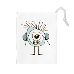 Cute Weird Caricature Illustration Drawstring Pouch (Large)