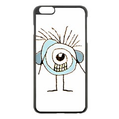 Cute Weird Caricature Illustration Apple iPhone 6 Plus Black Enamel Case