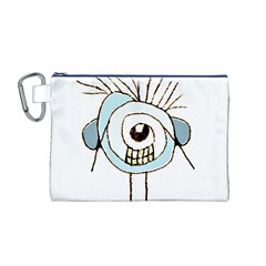 Cute Weird Caricature Illustration Canvas Cosmetic Bag (Medium)