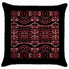 Tribal Ornate Geometric Pattern Black Throw Pillow Case