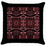 Tribal Ornate Geometric Pattern Black Throw Pillow Case Front