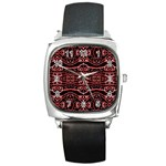 Tribal Ornate Geometric Pattern Square Leather Watch Front