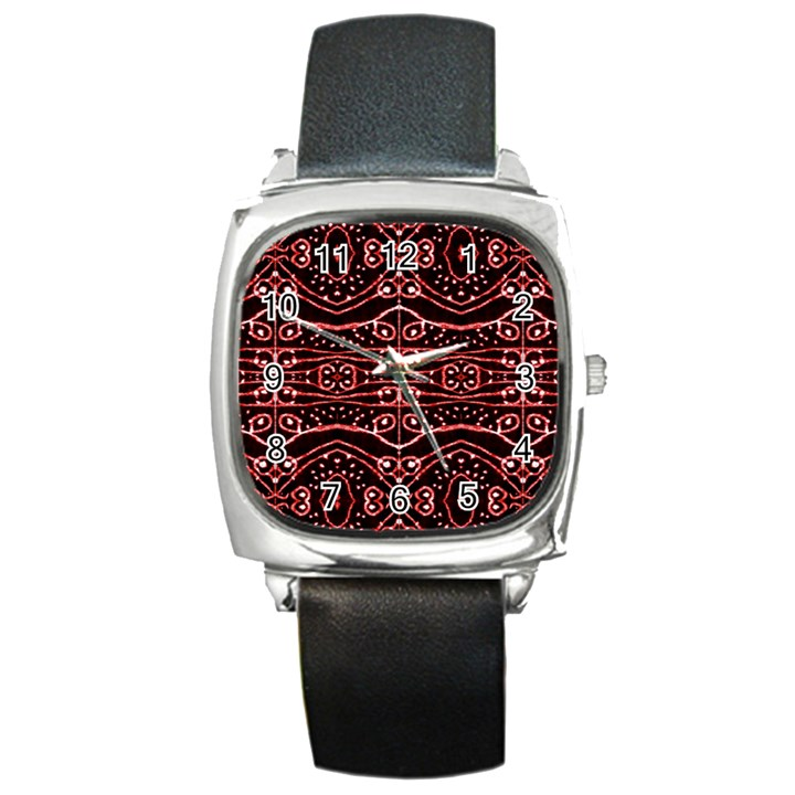 Tribal Ornate Geometric Pattern Square Leather Watch