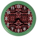 Tribal Ornate Geometric Pattern Wall Clock (Color) Front