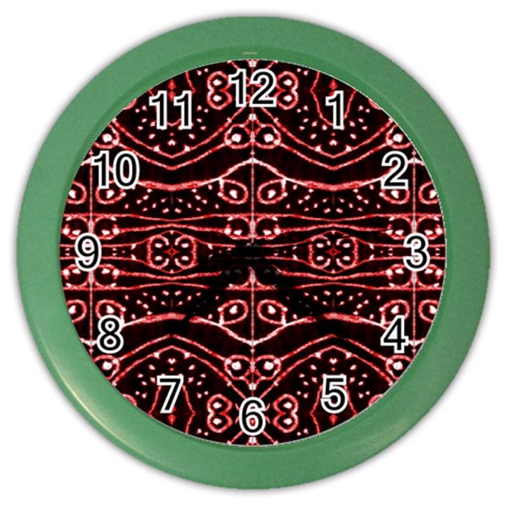 Tribal Ornate Geometric Pattern Wall Clock (Color)
